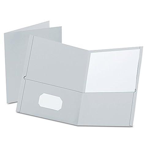 Twin-Pocket Portfolio, Embossed Leather Grain Paper, Gray