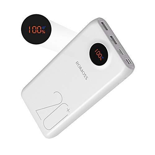 Romoss Powerbank 20000mAh, Typ C PD Tragbares Ladegerät mit LED Display, 18W Fit Charge⊕, 3 Outpots und 3 Inputs Externer Akku für Meisten Smartphone, Tablets und Anderen Geräte