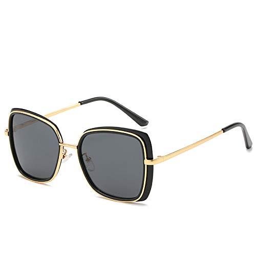 Koreanische Version der Big Box Metall Sonnenbrille Retro Polygon Damen Sonnenbrille Tang Yan Brille schwarzen Rahmen schwarz grau Tabletten