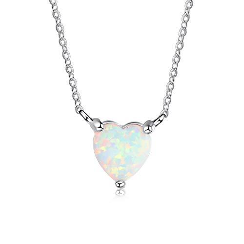 Coniea Halskette Damen Anhänger Einfache Liebe Opal Halskette Halskette Silber Lang