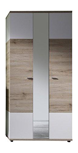 Trendteam Garderobe Schrank, Holzwerkstoff, weiß, Absetzung Eiche San Remo Hell Dekor, 91 x 190 x...