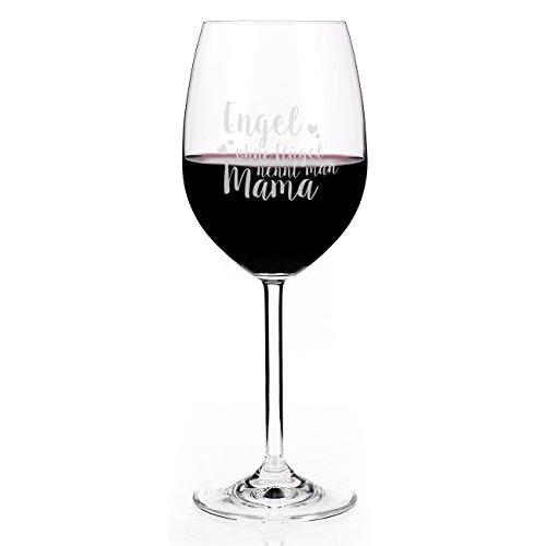 Leonardo Rotweinglas zum Muttertag mit Spruch - Engel ohne Flügel nennt man Mama -