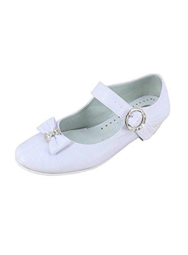 Boutique-Magique Chaussures Mariage Blanche Petit Talon Fille Femme Communion