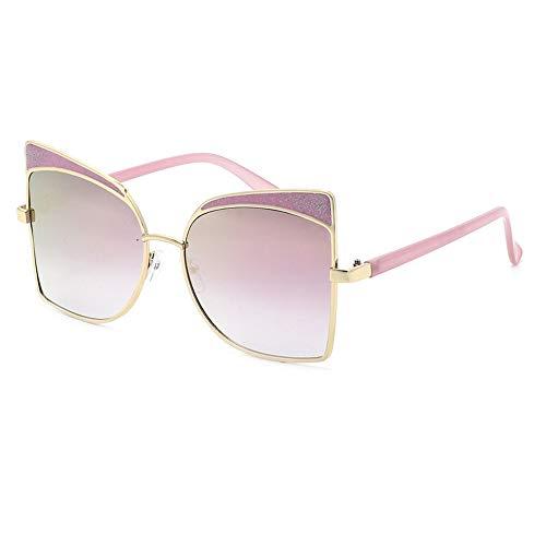 JUZEN Damensonnenbrille, Katzenauge europäische und amerikanische Brille, großer Rahmen mit Kleiner Sonnenbrille, Anti-UV400,Pink