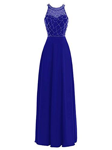 Dresstells, Robe de cérémonie Robe de soirée forme empire longueur ras du sol emperlée Bleu Saphir