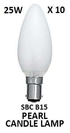 10 X 25 Watt SBC (B15) Small Bayonet Cap Opal Pearl Candle Lamps Light Bulbs