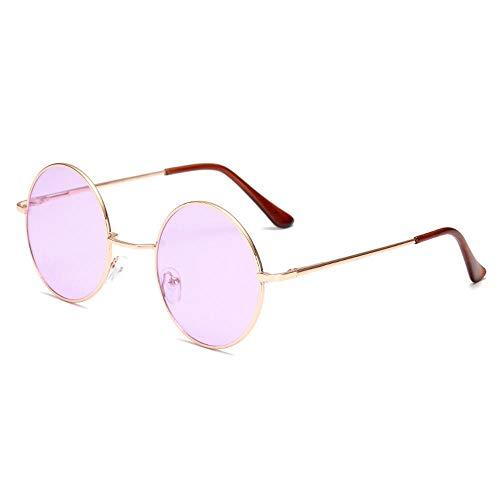 CYCY Prince Spiegel runde Sonnenbrille Herren Best Man Performance Sonnenbrille weibliche Gezeiten Sonnenbrille Goldrahmen, Goldrahmen lila Stück