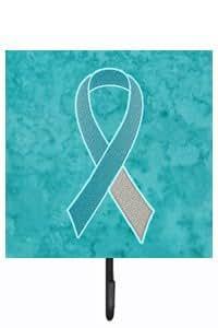 Bleu sarcelle et blanc ruban de sensibilisation pour le Cancer cervical Laisse ou porte clé an1215sh4