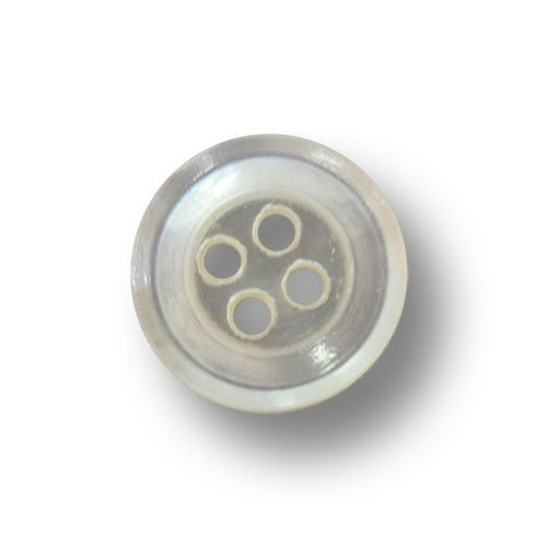 Knopfparadies - 10er Set günstige klassische kleine Vierloch Blusen o. Hemden Perlmutt Knöpfe mit vertiefter Knopfmitte und erhöhtem Rand / aus älterer Produktion / perlmutt weiß / Perlmuttknöpfe / Ø ca. 11mm