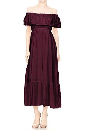 Bauern Kostüm Frauen - Anna-Kaci Damen Rüschen Renaissance Mittelalter Flounce Sommer Kostüm Maxi Kleid