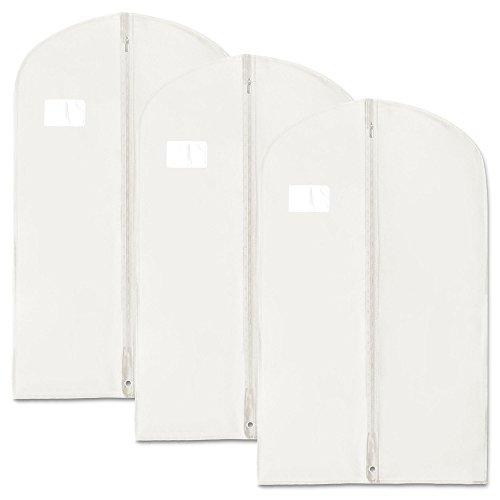 3 Atmungsaktive Kleidersäcke aus Vliesstoff - 100 cm - weiß - Hangerworld