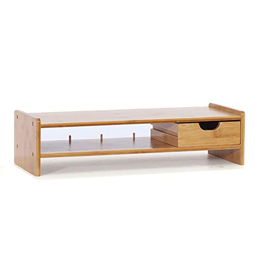 amboo Monitor Ständer, Bamboo Desktop Monitor Riser, TV-Ständer Desk Organizer Stauraum für Tastatur und Maus,Oak ()