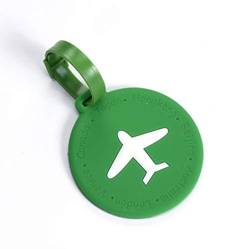 loudizhongwenhuanjing Reisegepäcketiketten mit Sichtschutzhüllen, ideal zum Schutz vor Verlust von Taschen und Koffern, Herren, Round Green