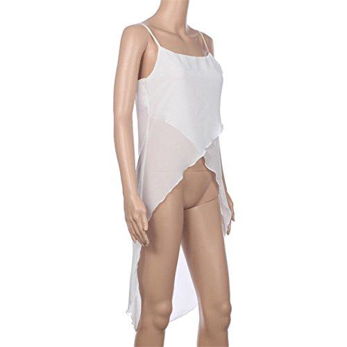 CYBERRY.M Débardeurs Femme Casual Été Sans Manches Bretelle Mousseline de Soie T-shirt Blouse Blanc