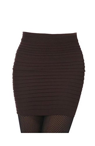 Lady OL Sexy Mini Skirt Striped Short Slimming Pencil Skirt 13 Colors (Coffee)