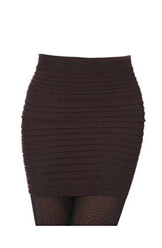Lady OL Sexy Mini Skirt Striped Short Slimming Pencil Skirt 13 Colors (Coffee)