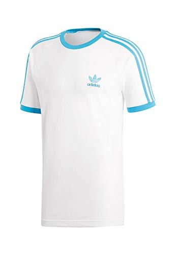adidas Originals T-Shirt Herren 3-Stripes Tee DZ4586 Weiss Blau, Größe:L