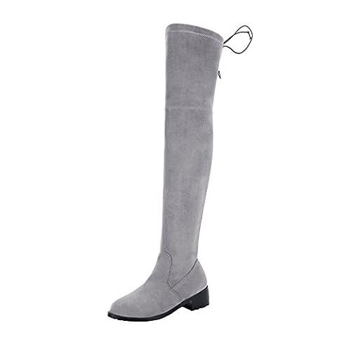 YE Damen Overkneestiefel Blockabsatz Stretch Stiefel mit Schnürsenkel Bequem Elegant Simple Schuhe