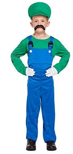 Jungen Kinder Mario oder Luigi Klempner 1980s Jahre Büchertag Halloween Kostüm Kleid Outfit 4-12 Jahre - Grün, 7-9 Years
