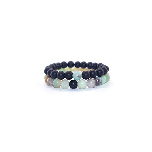 Awertaweyt Edelstein Perlen Armband Retro Blue Beads Frosted Beads Combination Beaded Bracelet Men and Women Couple Bracelet Natural Stone Yoga Bracelet for Women Steel Color Blue Steel Wash