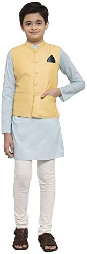 NEUDIS by Dhrohar Cotton Nehru Jacket & Long Kurta with Churi Pajama Set For Boys - Yellow &