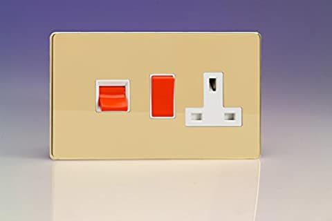 Varilight 45A Cooker Panel with 13A Double Pole Switched Plug Socket Outlet (Red Rocker) Polished Brass