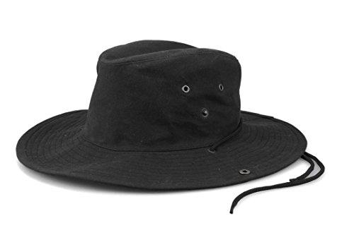 Krumba Herren Baumwolle Braun Oilskin Draussen Wasserdicht Löffel Hut schwarz Größe S/M