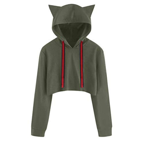 Dragon868 felpe con cappuccio corti tumblr ragazza, donna manica lunga maglietta gatto camicetta pullover taglie forti 2xl