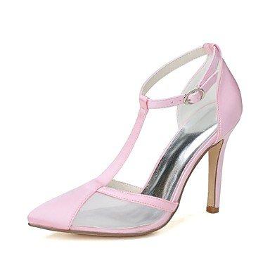 Wuyulunbi@ Scarpe donna raso Net Primavera Estate della pompa base scarpe matrimonio Stiletto Heel punta per la festa di nozze & Sera arrossendo Rosa Blu Rosa