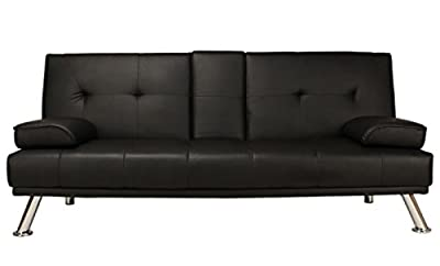 Sofa Bed Black Faux Leather Click Clack Double Settee 2 to 3 Seater Modern Couch with Cup Holder Table Two Pillows and Chrome Feet Living Room Gues Room Furniture Cheap