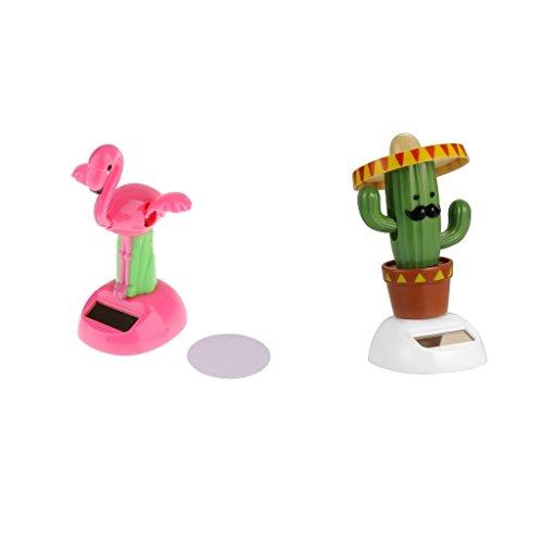 NON Sharplace Muñeca Sacudida Funciona con Energía Solar Juguete Adorno para Coche Hogar - 2 pcs (pájaro grúa + Cactus)