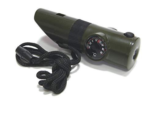 Ndier Sifflet de Survie, 7 en 1 Multifonctionnel Sifflet de Survie avec Boussole Lampe de Poche LED Loupe Thermomètre pour Activités Extérieures