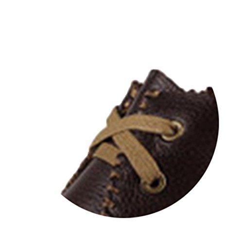 Spades et clubs en cuir pour homme Mode Casual Moka Pouf Semelle Plat Chaussures de marche Marron - Café