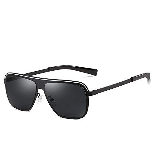 Yiph-Sunglass Sonnenbrillen Mode Polarisierte Sonnenbrille mit Metall Gold Frame UV400 Schutz Vintage Retro Sonnenbrille für Männer Frauen Mädchen Multi Farben (Farbe : Schwarz)