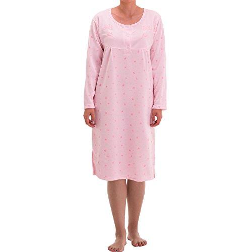 Blumen-seide Nachthemd (Lucky Langarm Thermo Nachthemd mit Blumen Druck, Größe:M;Farbe:Rosa)
