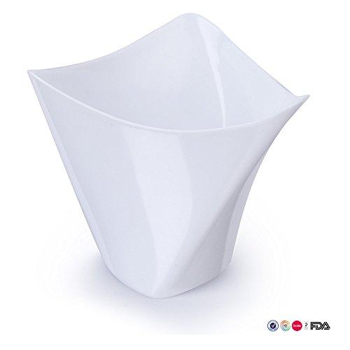 Mini-dessertbecher, Quadratische Kunststoffschale, Fassungsvermögen Ca. 118 Ml, Elegantes Design, Einweg, Satz Mit 50 Stück Weiß