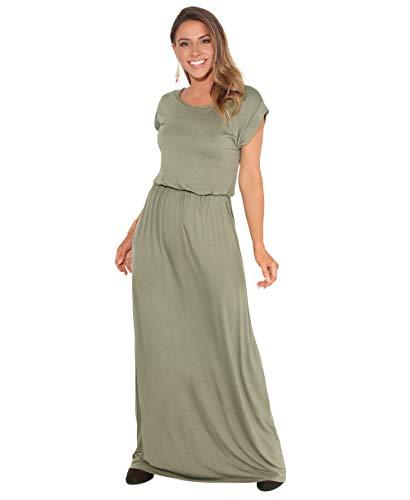 KRISP 3269-KHA-10 Damen Leichtes Kleid (Khaki, Gr.38) (Blick-strand-kleid)