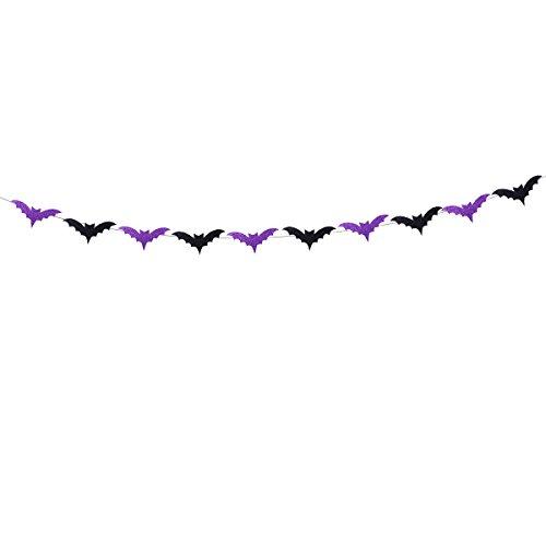 Amosfun Halloween-Spinnen-Fahnen-Schwarz-Funkelnde Schläger-Form-Flaggen-Fahnen-Girlanden-Ausgangsparty-Dekoration (Schwarze Formen Halloween)