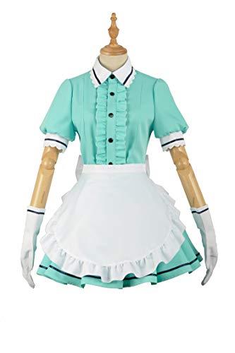 Cosplayfly Damen Anime Cosplay Kostüm French Maid Outfit Kleid Frech Nette Schürze Dienstmädchen Kostüm Uniform Grün (Anime French Maid Kostüm)