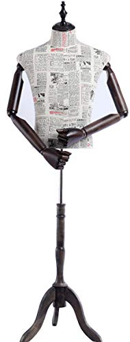 Eurotondisplay Schneiderpuppe, Zeitung Muster stoffbezogenen Oberkörper mit Deckel aus Holz,Arme und Finger aus Holz beliebig verstellbar, dunkler Holzstand ((A-2-G männlich)