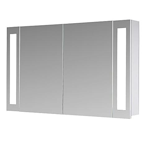 Eurosan 2-türiger Spiegelschrank, Superflach, Integrierte LED-Frontbeleuchtung, Breite 100 cm, Weiß,