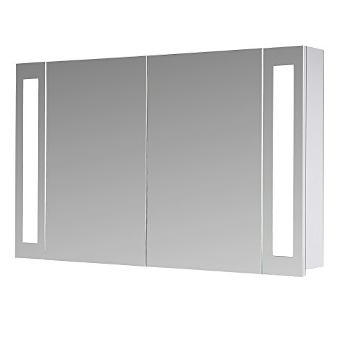 #Eurosan San Francisco, SF100, 2-türiger Spiegelschrank, Superflach, Integrierte LED-Frontbeleuchtung, Breite 100 cm, Weiß#