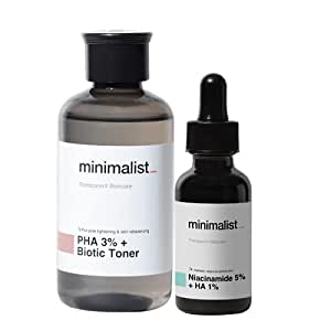 Minimalist Daily Pore Care Kit For Pore Tightening & Reduce Open Pores   3% PHA + Biotic Face Toner & 5% Niacinamide + Hyaluronic Acid Face Serum Combo