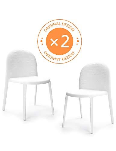 Suhu Stuhl Retro 2er Set Esszimmerstühle Esszimmer Designer Sessel Esstisch Stühle Modern Küchenstühle Stapelstuhl Gartenstuhl Loungesessel Esszimmerstuhl Vintage Schalenstuhl Plastik Essstuhl Weiß