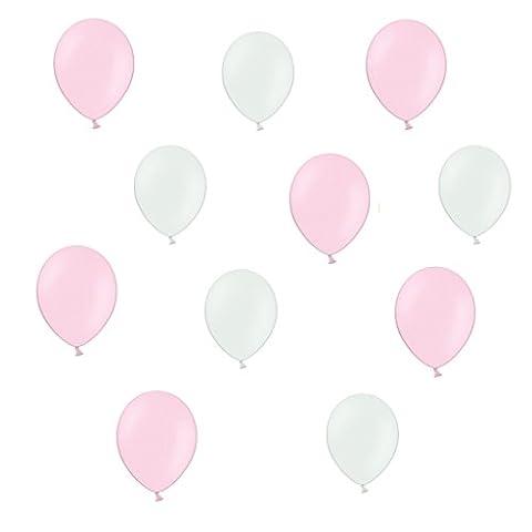 50 x Luftballons je 25 Pink / Rosa und Weiß Metallic - ca. Ø 28cm - 50 Stück - Ballons als Deko, Party, Fest - Farbe Weiß & Pink - Helium geeignet -