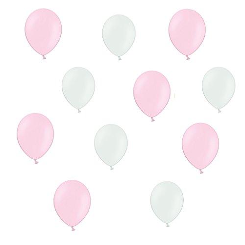 lons je 25 Pink / Rosa Metallic und Weiß Metallic - ca. Ø 28cm - 50 Stück - Ballons als Deko, Party, Fest - Farbe Weiß & Pink - Helium geeignet - twist4® (Ballon-farben)