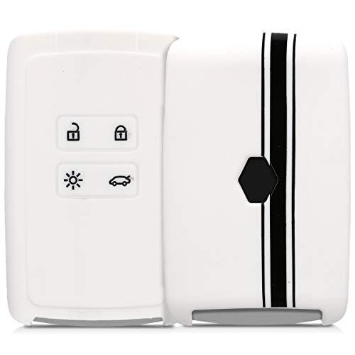 kwmobile Funda para Llave Smart Key de 4 Botones para Coche Renault (Solamente Keyless Go) - Carcasa Protectora [Suave] de [Silicona] - Case de Mando de Auto con diseño de Rally