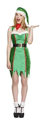 Fever, Damen Freche Elfe Kostüm, Kleid, Gürtel und Mütze, Größe: L, - Freche Elfen Kostüm