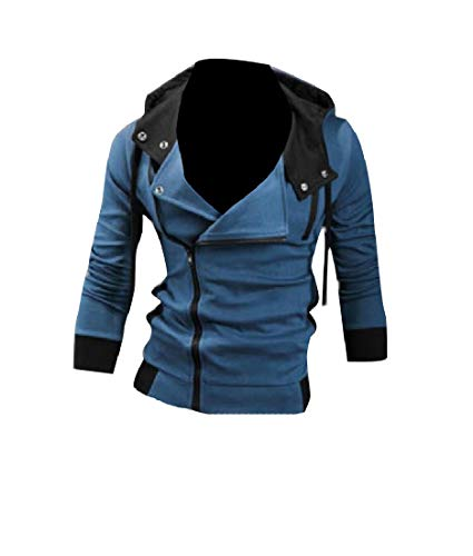 CuteRose Mens Full Zip Regular Athletic Fit Sweatshirts Denim Blue 3XL (Hoodie Disney Zip-up)