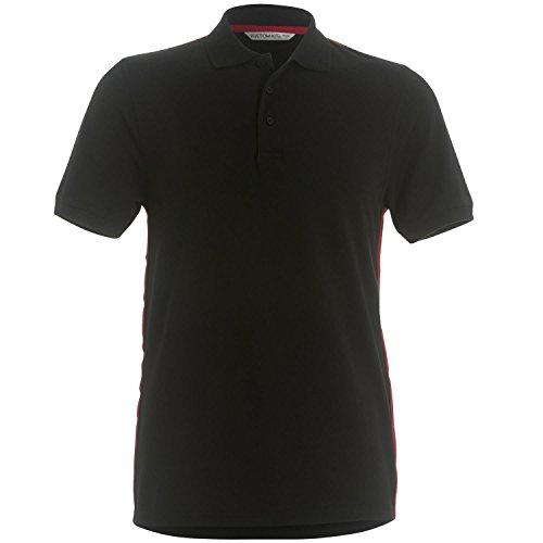 Kustom Kit T-Art Slim Fit Polo-Shirt Black/ Red